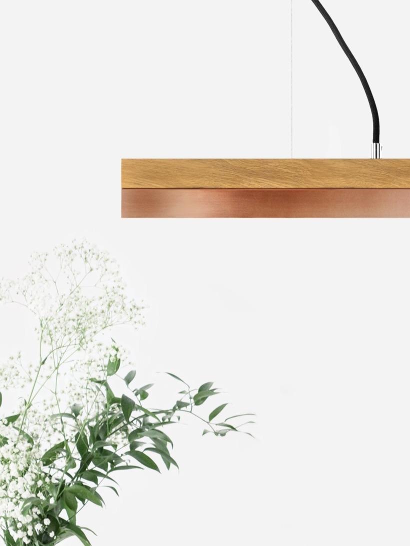 [C2o]copper Pendelleuchte Eichenholz und Kupfer klein