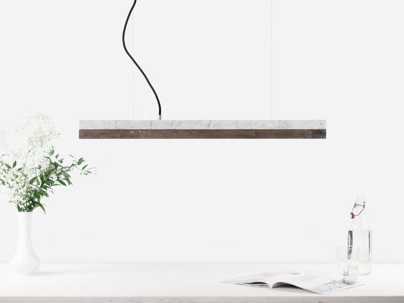 [C2m]corten Pendant light marble and corten small